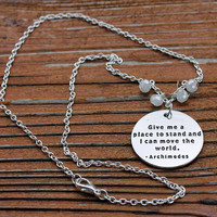 Give me a place to stand and I can move the world, Archimedes Silver Colored charm chain necklace with White Glass beads, 18""