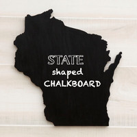 Wisconsin state shape sign wood cutout wall art Chalkboard Message Board. Home organizer. Wedding College Dorm Country Cottage Chic Decor