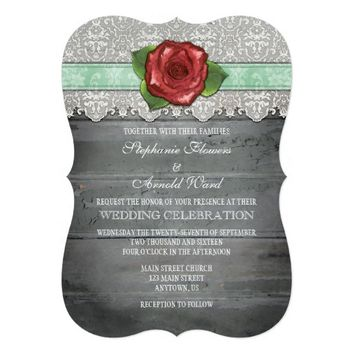 Mint Green Gray Rustic Wood Rose Wedding Invite
