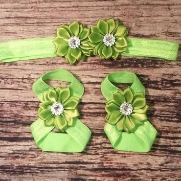 Green Satin Rhinestone Baby Girl Headband and Barefoot Sandal Set!