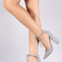 Breckelle Pointy Toe Self-Tie Chunky Heel