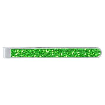 Sparkly Green Faux Glitter Texture Bling Silver Finish Tie Clip