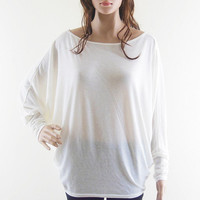 Fashion Shirt Women Tshirt Long Sleeve Shirt Casual Wide Batwing T Shirt White Tshirt Free Size