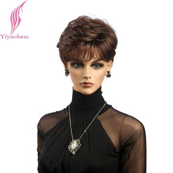 Yiyaobess Synthetic African American Short Curly Wigs For Women Natural Hair Brown Wig With Bangs