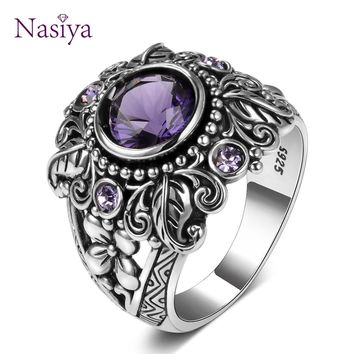 Vintage Style 925 Sterling Silver Ring Featuring Large 3ct Amethyst Gemstone