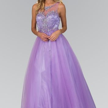 Princess prom dress with illusion neckline gls 1353