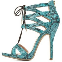 Caged Python Print Lace-Up Heels by Charlotte Russe