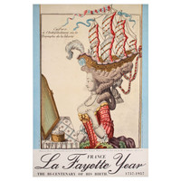 Vintage French Poster Celebrating the Bicentenary of Lafayette's Birth, 1957