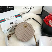 GUCCI Marmont Love Waves Round Cake Bag Chain Bag Crossbody Bag Apricot