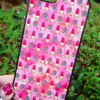 Iphone 4 4S Phone Case Emoji Icons Lipstick Lolly Print Hipster Phone Cover