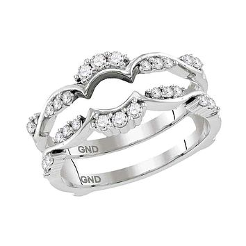 14kt White Gold Women's Round Diamond Ring Guard Wrap Solitaire Enhancer 1/3 Cttw - FREE Shipping (US/CAN)
