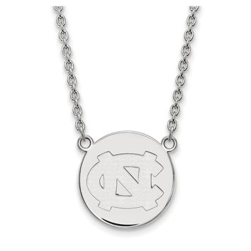 NCAA Sterling Silver North Carolina Large 'NC' Disc Necklace