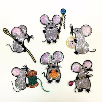6pcs exquisite cartoon button mouse animal small sequins dress/sweater/coat accessories sequined applique patches for clothing
