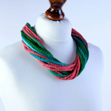 Multi strand felt necklace of twist design made of felted and twisted rope - multistrand wool necklace in coral red and emerald green [N131]