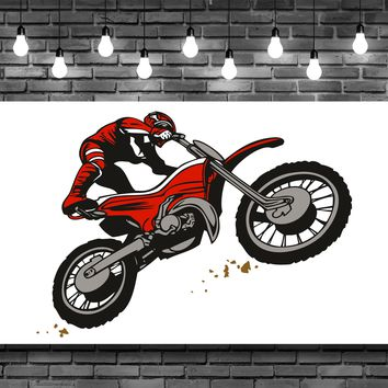 Red Dirt Bike Motorcycle Rider Wall Art Decal Sticker