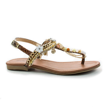 Twinkle Multi Thong Charm Beaded Chain T-Strap Slingback Flat Sandals