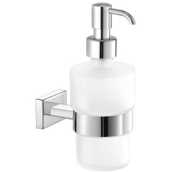 SCBA Enigma Wall Frosted Glass Pump Soap Lotion Dispenser Bath or Kitchen
