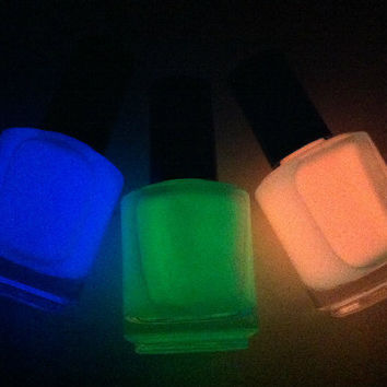 3 Glows - Unique Hand Mixed Glow in The Dark Nail Polish / Lacquer in a Full Sized Bottle - Read Info Below.
