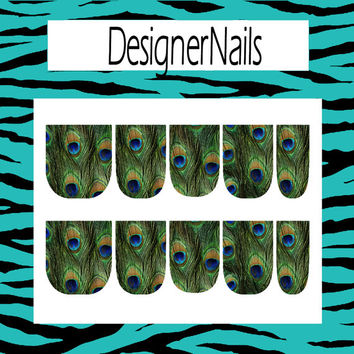 Full peacock feather Nail Decal