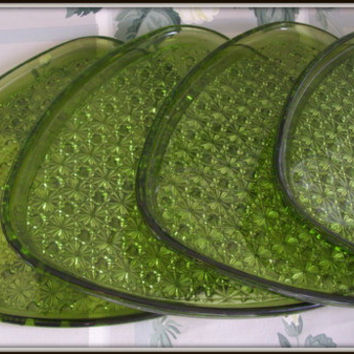 Vintage 50's Indiana Glass Daisy and Button Olive Green Snack Plates Set of 4