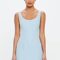 Missguided - Peace + Love Blue Crepe Detailed Hem Mini Dress