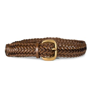 Gucci Women's Braided Leather Belt with Gold Buckle 380606 2535 Brown (32-38 in/80-95 cm) (38)