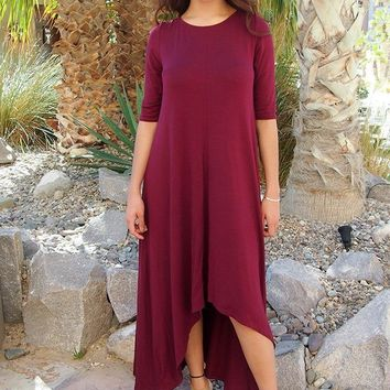 Swept Away Burgundy Red Hi-Low Maxi Dress