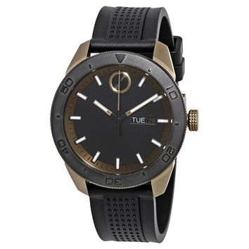 Movado Bold Black Dial Mens Rubber Watch 3600452