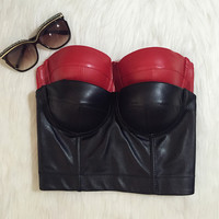 Cool Black PU leather Bralet Women's Bustier Bra Night Club Party Cropped Top Vest Plus Size