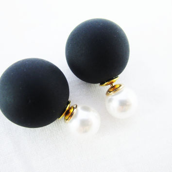 Dominoe Double Pearl Earrings