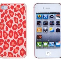 Pink Leopard Embossed Hard Case for Apple iPhone 4, 4S (AT&T, Verizon, Sprint) - Includes DandyCase Keychain Screen Cleaner [Retail Packaging by DandyCase]
