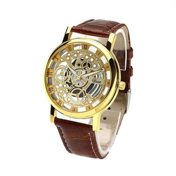 Hot man and women no mechanical watch hollow couple quartz sports watches belt students watches  leather strap wristwatch more