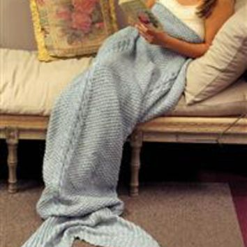 Mermaid Tail Blanket - Mermaid Tail Throw, Cable Knit Throw