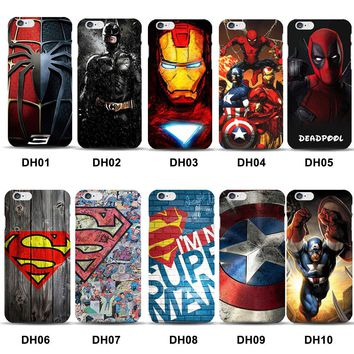Marvels Superman Captain America Mobile Phone Case for funda iPhone X 8 7 Ironman SpiderMan Cover for iPhone7 6s 6 Plus 5s 5 SE