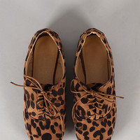 Galen-06 Leopard Round Toe Lace Up Oxford Flat