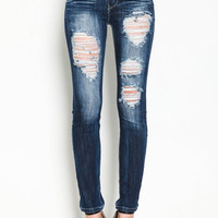 HIGH WAIST DESTROYED SKINNY JEANS