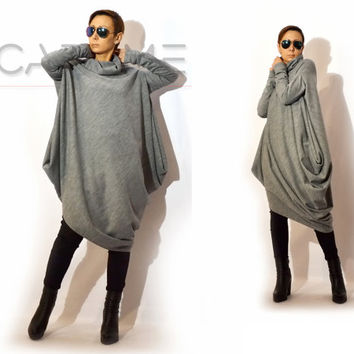 Asymmetric Tunic/Tunics for leggings/Oversize Tunic/Winter Tunic/Zippered Top/Extravagant tunic  by CARAMEL fs - T-1215