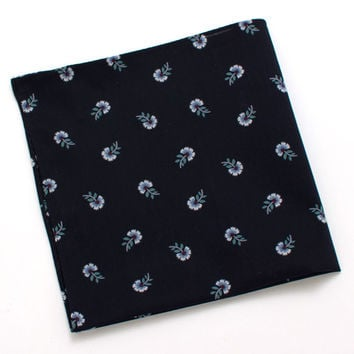 Navy Japanese Floating Flower Pocket Square
