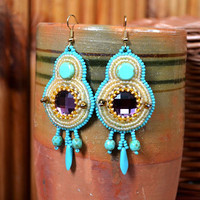 Bead embroidered earrings Beadwork Multicolored earrings Purple Turquoise Beige seed bead earrings Bead embroidery jewelry Gift for her