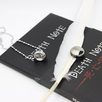 Cosplay Ryuk Cover Note Book Death Note Notebook & Feather Pen & Necklace& Ring Stationery Set Writing Journal Death Note