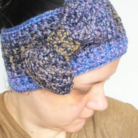 Chunky Crochet Headband in Variegated Purples and Tans with Extra Large Bow, ready to ship.