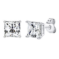 Sterling Silver 2.00 cttw Princess Stud Earrings Made with Swarovski Zirconia