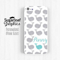 iPhone 5 Case iPhone 5s iPhone 5c Case Lovely Whale Personalized First Name iPhone 4 iPhone 4s Case Am07