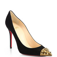 Christian Louboutin - Geo Suede Studded Cap-Toe Pumps