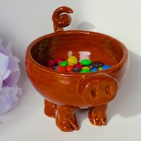 Ceramic Pig Bowl-Pottery Pig Bowl-Pig Candy Dish-Ceramic Pottery-Deep Sienna Speckle Glaze