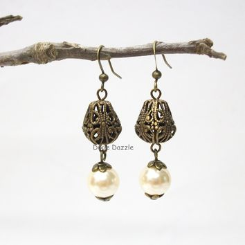 Vintage style pearl and filigree earrings. Pearl earrings, antiqued brass filigree art deco jewelry, art nouveau. Stocking stuffer