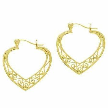 18K Gold over Sterling Silver Filigree Heart Hoop Earrings