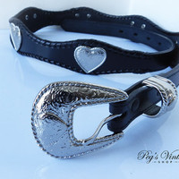 Black Leather Western Heart Concho Belt / Vintage Southwestern Rodeo Belt With Silver Belt Buckle / Size Medium / 38