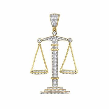 10kt Yellow Gold Men's Round Diamond Scales of Justice Charm Pendant 1.00 Cttw - FREE Shipping (US/CAN)
