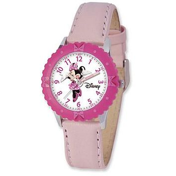 Time Teacher Girls Pink Minnie Mouse Watch - Pink Leather Strap - Pink Bezel